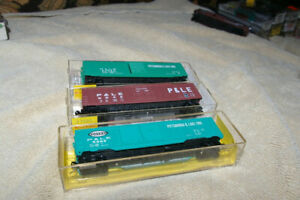 N-SCALE 3 CARS PITTSBURGH AND LAKE ERIE CENTRAL BY MTL AND ATLAS BOXCARS
