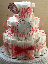 3 Tier Diaper Cake Red & White Pinstripe Baseball Baby Shower Gift Centerpiece