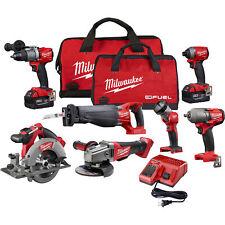 Milwaukee M18 Fuel Li-Ion Cordless Power Tool Set 7-Tool Set With 2 Batteries