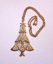 Vintage B.J. Gold Tone Rhinestone Enamel Christmas Tree Pendant Necklace Large