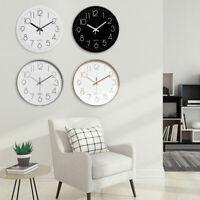 10inch Round Modern Quartz Silent Sweep Movement Wall Clock Home Office Decors