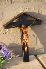 French antique wood chapel metal christ crucifix
