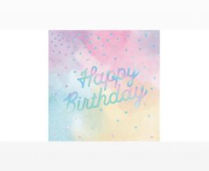 Pastel Iridescent Birthday Napkins - Pack of 16
