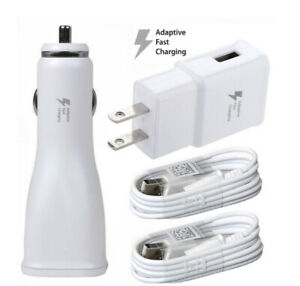 Fast Wall Charger+Car Charger 2x Micro Cable For Samsung Galaxy S4 S6 S7 Edge