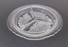 Relish Dish 3 Section Clear Glass Forsted Fruit Vtg