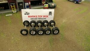 WHEELS: 5 SPECCAST 1 FRONT & 4 REAR AXLE TIRE'S - CUSTOM SEMI TRUCK BUILD 1/64