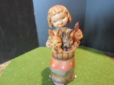 "Anri Ferrandiz Basket Of Joy, girl with rabbits, Figurine Woodcarving 6"""