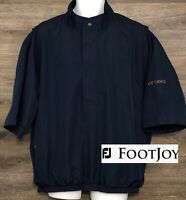 FootJoy DryJoys Men's Navy Blue Waterproof Short Sleeve 1/4 Zip Pullover Shirt L