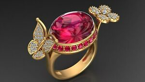 Butterfly and Flower Shape Ruby Ring Engagement Wedding Ring 925 Silver/ Gold