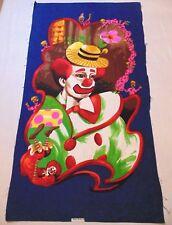 "Vtg Wesco Reltex BARKCLOTH FABRIC PANEL Circus Art Series SAD CLOWN 44"" X 23"""