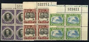 New Zealand Niue 1938 Set o3 in Blocks of 4 MNH SG 75/77 Cat £240