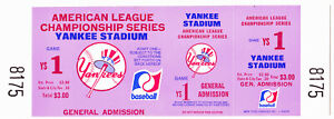 1976 Yankee Stadium American League Championship Series Ticket Game 1 ~ MLB