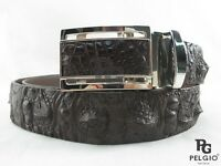 "PELGIO Genuine Crocodile Alligator Head Bump Skin Leather Men's Belt 46"" Brown"