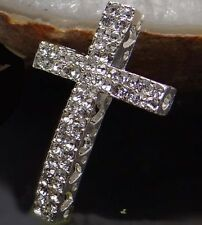 35mm Curved Crystal Rhinestone Cross Bracelet Connector Charm Bead