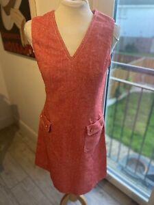 VINTAGE 60's RED & WHITE WOOL MOD MINI TUNIC DRESS UK 8/10 SMALL