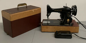 Vintage Singer Model 99 Portable Sewing Machine in Case W/ Pedal Clean!