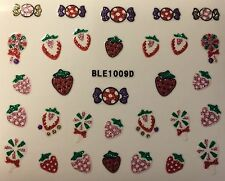 Nail Art 3D Glitter Decal Stickers Starwberry Lolly Pop Candy Fruit BLE1009D