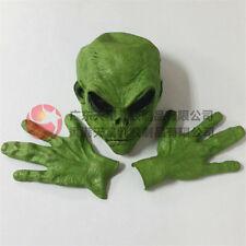 Alien Mask+Glove Cosplay Horror Latex Headgear Halloween ET Props Green Mask Set