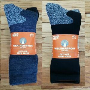 Weatherproof Vintage Outdoor Mens 4-Pack Crew Socks Sz 6-12 Colors Available New