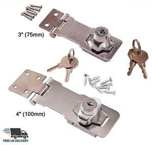 "Self Locking Security Hasp Staple 2 Keys Padlock Cupboard Gate Garage 4""/3"""