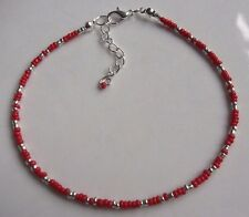 Hand made Red and Silver glass seed bead anklet ankle bracelet beach boho