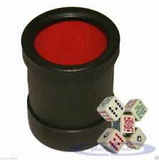 Las Vegas Style Premium Dice Cup Felt Lined Black Red w/5 Poker Dice New in Box