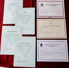 Lot de 7 diplômes militaires certificats brevets OBSOLETES vierges