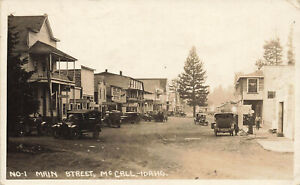 McCall ID Main Street Gas Station Clear Storefront Signage Real Photo Postcard