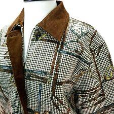 JONES NEW YORK SPORT Equestrian Coat Houndstooth Brown Corduroy Trim Jacket  S *