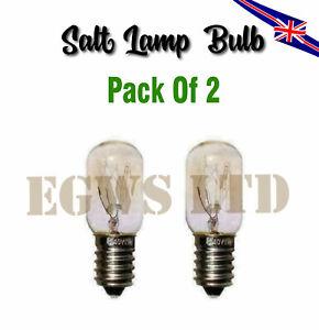 2 x Himalayan Salt Lamp Oven Bulbs E14 Warm White 90 Lumen 15W