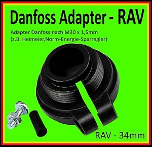 ⭐️ 💯% 🔝 1 x Adapter Danfoss  RAV - 34mm auf Thermostat M30x1,5mm Heimeier usw