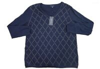 NWT Tommy Hilfiger Women's Navy Blue Gem Studded Argyle V-Neck Sweater XL 2XL