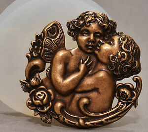 ANGEL ORNAMENT SILICONE MOLD  POLYMER CLAY RESIN FIMO MOULD CHERUB EMBOSSING
