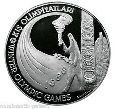TURKEY 10000 LIRA 1988 Silver  PF WINTER OLYMPICS GAMES - BEAR WITH TORCH