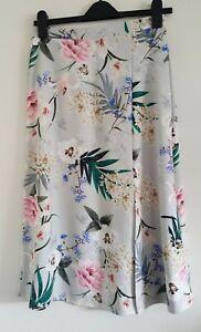 NEW Ex High-street Grey Floral Summer High Waist Midi A-line Skirt Size 8-20