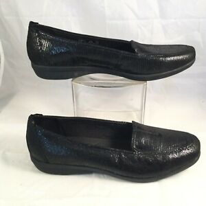 Clarks Collection Haydn Womens Black Leather Flats Loafers Shoes US 10