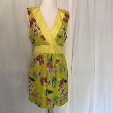 Tyler Boe Dress Size 14 Green Yellow Floral Cotton Silk Blend Lined Sleeveless