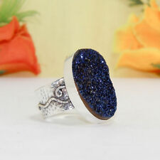 49CTS BEAUTIFUL BLUE DRUZY VINTAGE STYLE SILVER PLATED RING=US-8.50,HANDMADE