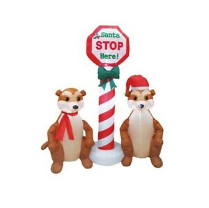 1.8m Inflatable Santa Stop Here Meercats LED Light up Christmas Decoration