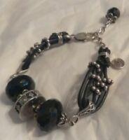 """Sterling Silver Leather Black Faceted Glass Beaded 3/4"""" Wide Adjustable Bracelet"""