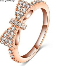 18K ROSE GOLD FILLED BOW RING STACKING 8(Q) MADE WITH SWAROVSKI CRYSTALS LADY