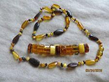 Old Vintage 70's Real Russian Baltic Amber multi color Necklace +Bracelet set