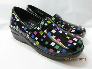 EASYWORKS by Easy Street Black Clogs With Multi-Color Squares Women's 12Wide EUC
