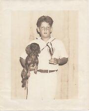 Large 1935 Photo of Champion Dachshund Dog posing w/ Boy & Trophy in Hawaii