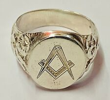 """More details for """"solid silver masonic gents signet intaglio ring"""" superb"""