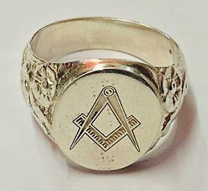 """Solid Silver Masonic Gents Signet Intaglio Ring"" Superb"