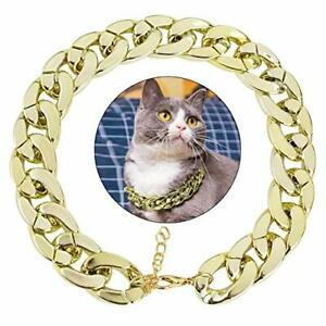 Dog Neck Chain Pet Chain Collar Fashion Cool Plastic Pet Chain Necklace Golden
