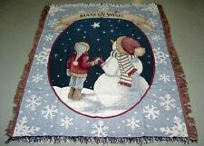 Make-A-Wish Foundation ~ Christmas Snowman & Child Winter Tapestry Afghan Throw