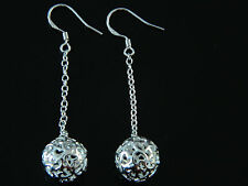 Silver Plated Hollow Mesh Balls Dangling Women Drop Chain Earrings FE28