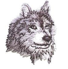 Gray Wolf Head/Face - Facing Right Animals - Iron on Applique/Embroidered Patch